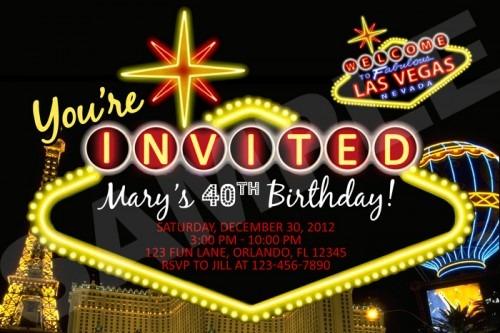 Vegas Themed Birthday Party Invitations