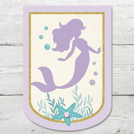 Mermaid Birthday Banner Printable, Mermaid Party Decoration