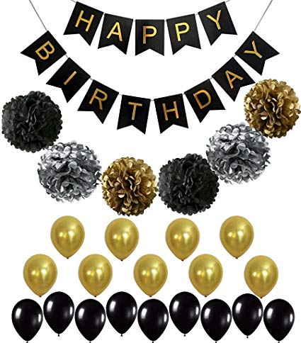 Amazon Com  Black And Gold Party Decorations