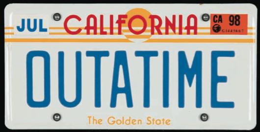 Back To The Future Original License Plate