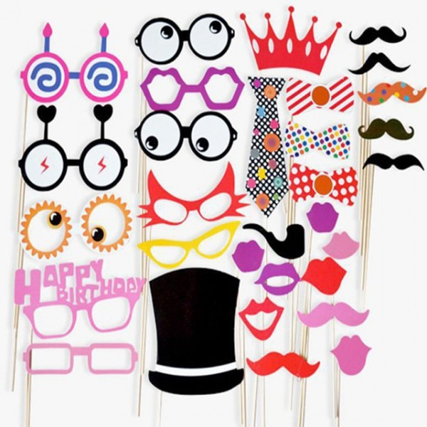 Creative Funny 31pcs Diy Paper Mustache Glasses Wedding Decoration