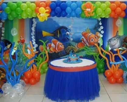 Finding Nemo Cake Table Balloon Decorations    Balloon Finding