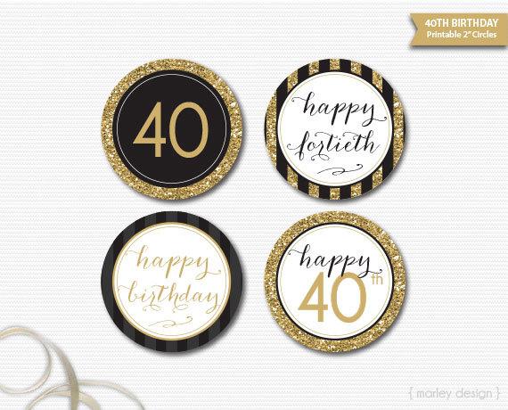 40th Birthday Toppers Black Gold Glitter 40th Birthday Decor