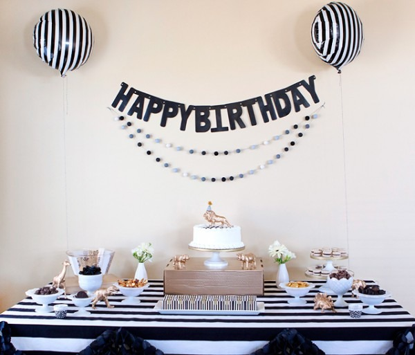 Party    Black, White, + Gold Birthday Party