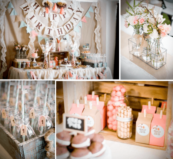 Kara's Party Ideas Cookies And Milk Vintage Shabby Chic 1st