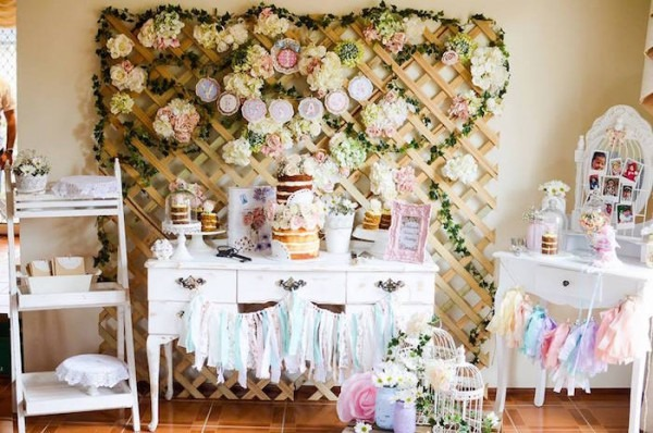Kara's Party Ideas Pastel Shabby Chic First Birthday Party
