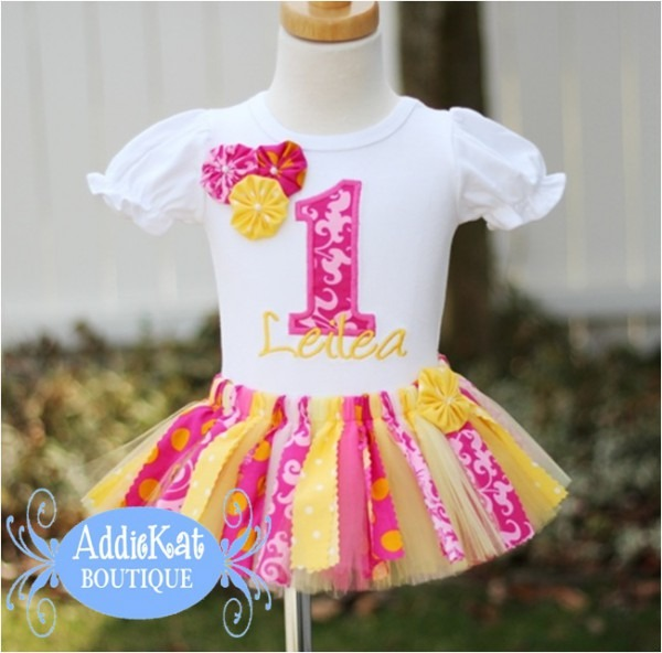 Personalized Pink Lemonade Fabric Tutu First Birthday Outfit With
