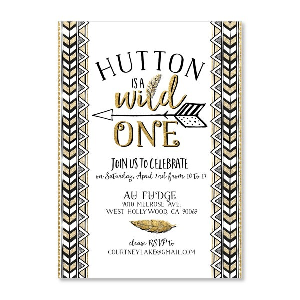 W Stunning Wild One Birthday Invitations