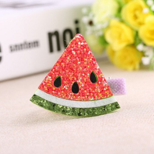 1 Pair Glitter Fruit Hair Clips Pineapple Watermelon Party Favors