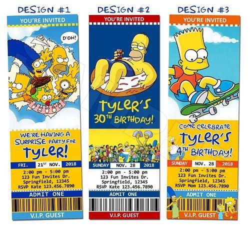Simpsons Homer Birthday Party Ticket Invitations Custom