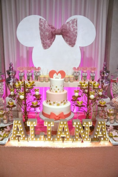 Pink And Gold Minnie Mouse Dessert Table With White Minnie