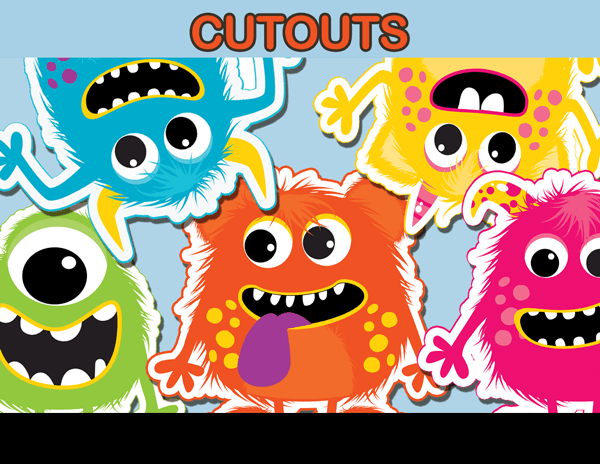 Little Monster Cut Outs, Party Decoration