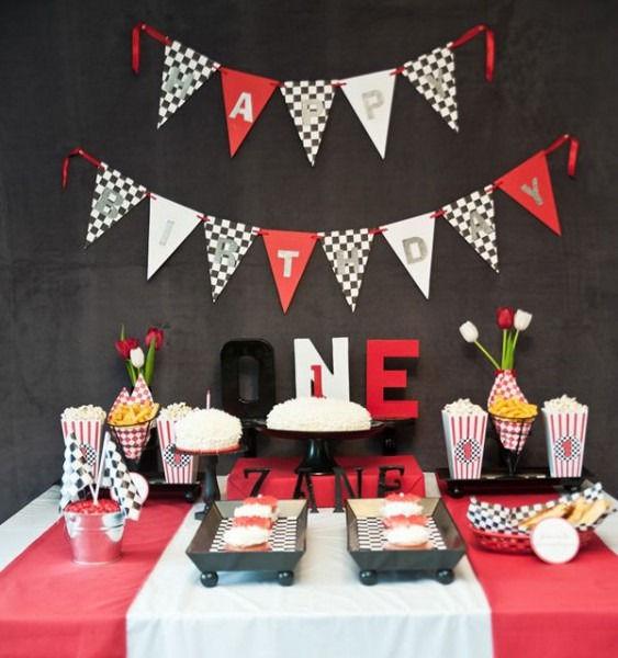 Diner Style Race Car First Birthday Party