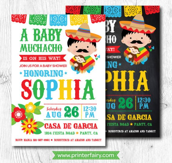 Fiesta Baby Shower Invitations, Mexican Baby Shower Invitations
