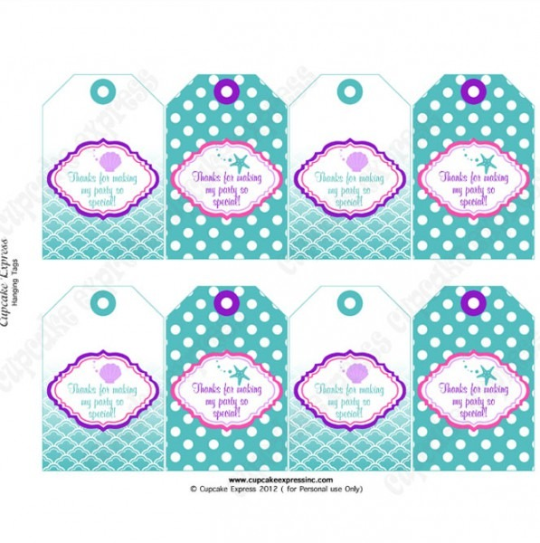 picture about Free Printable Thank You Tags for Birthdays titled Totally free Printable Mermaid Thank Oneself Tags