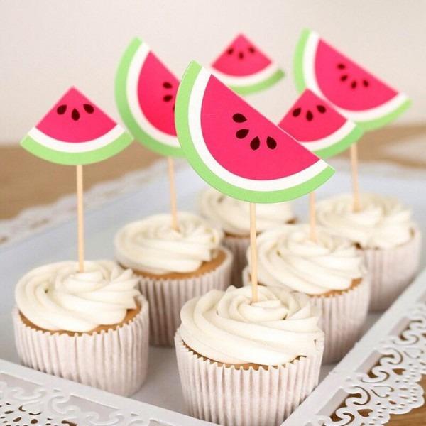 New 20pcs Cartoon Watermelon Cake Topper Baby Birthday Cake