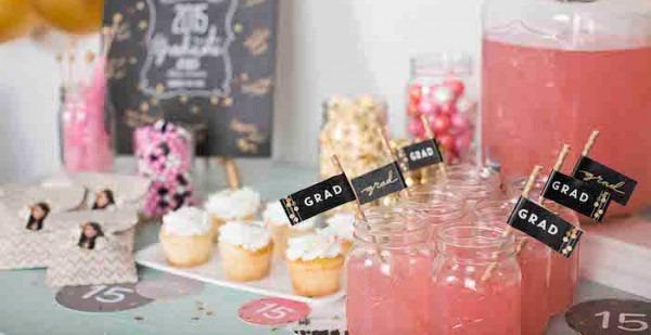 Kara's Party Ideas Pink & Gold Graduation Party