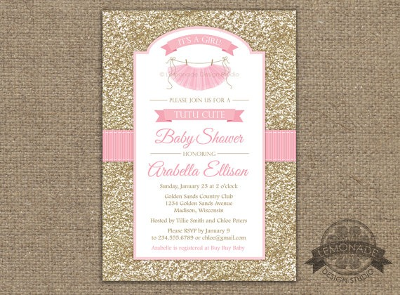 Tutu Cute Baby Shower Invitation, Gold Pink Baby Shower Invitation
