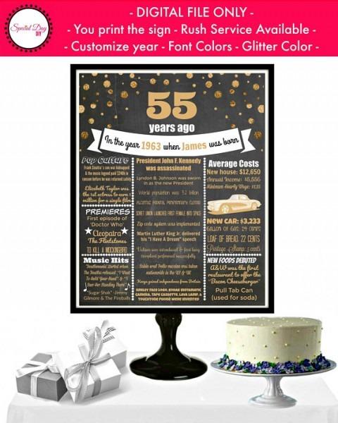 55th Birthday Chalkboard Poster, 55 Birthday Party Ideas, Unique