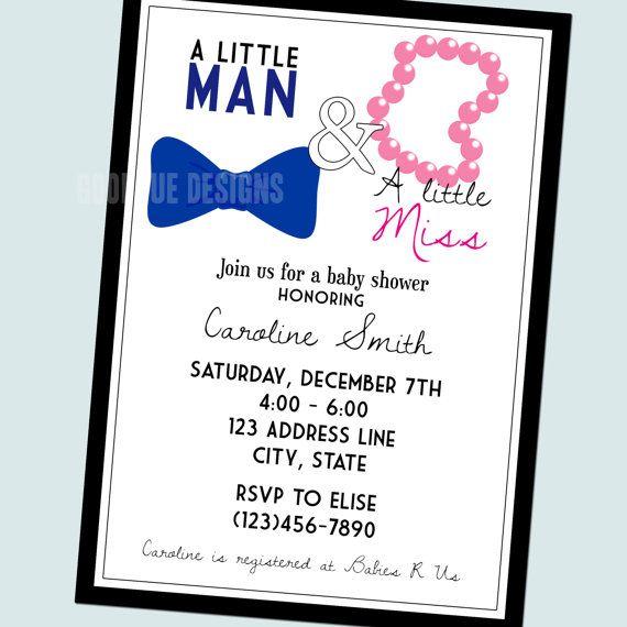 Little Man & Little Miss Baby Shower Invitation (boy Girl Twins