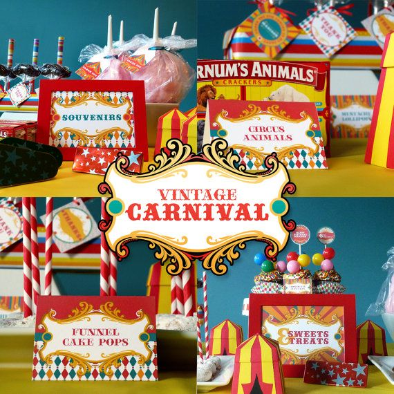 Vintage Carnival Circus Printable Birthday Party Package