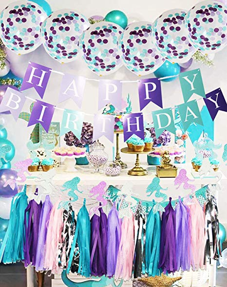 Amazon Com  Purple Teal Mermaid Party Supplies Mermaid Teal Purple