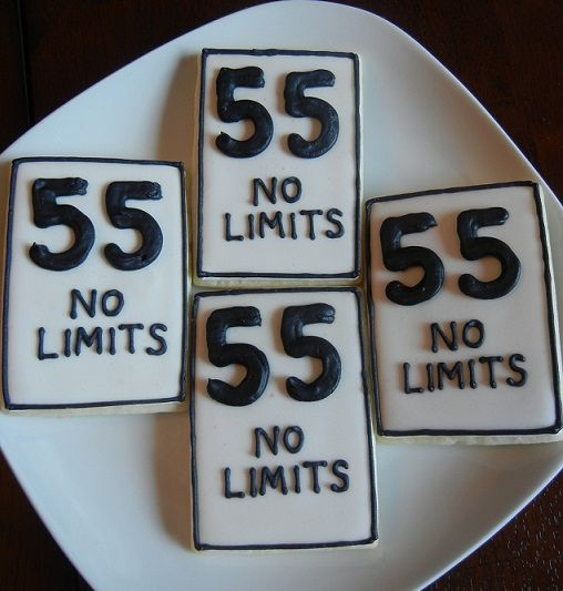 Speed Limit 55th Birthday Cookies