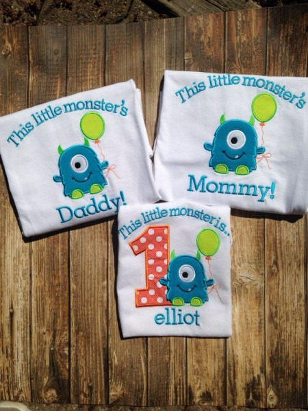 Little Monsters Boys First Birthday Mommy And Daddy Matching