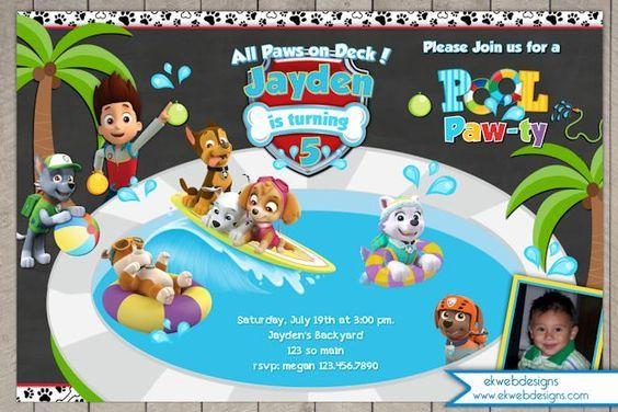 Paw Patrol Pool Party Birthday Invitation