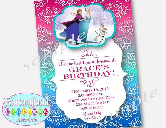 Frozen Inspired Skating Party Invitation By Fantasylandboutique