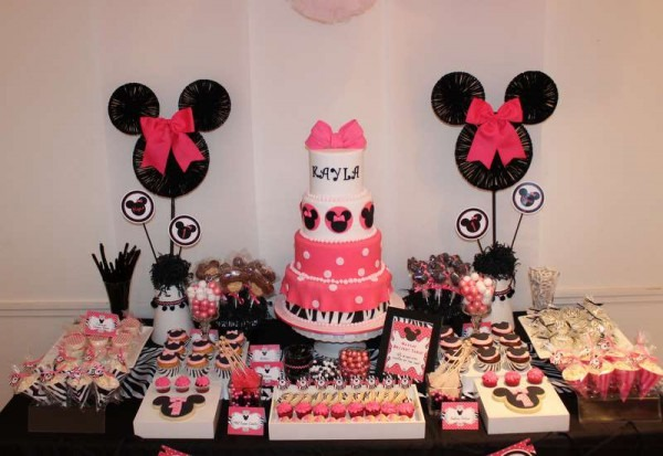 Cake Table Decor Ispiration On Minnie Mouse Theme For Girls