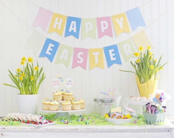 Easter Party Printables And Colorful Dessert Table