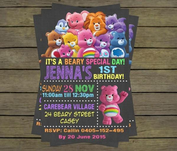 Care Bears 1st Birthday Invitations