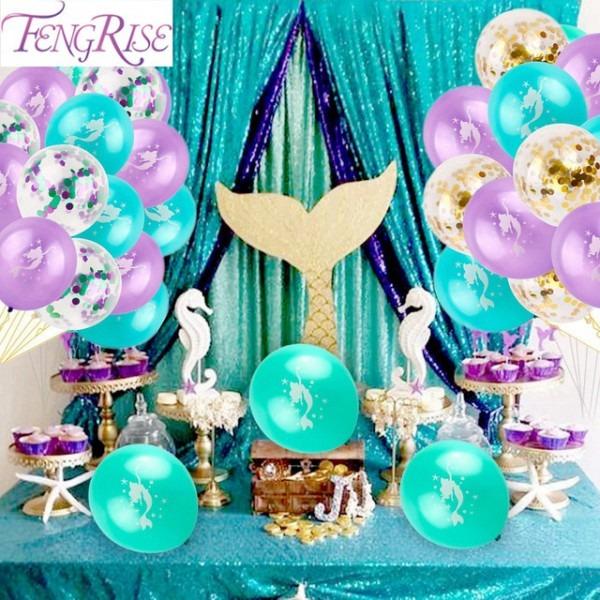 Fengrise Mermaid Balloon The Little Mermaid Birthday Party Baloons