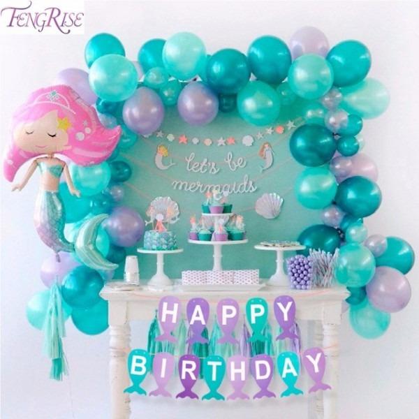 Aliexpress Com   Buy Fengrise Paper Mermaid Banner Kids Mermaid