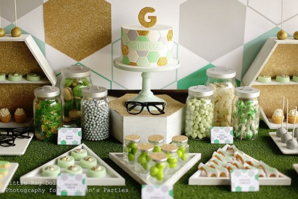 Kara's Party Ideas Geometric Green, Grey And Gold Birthday Party