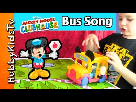 Mickey Mouse Wheels On The Bus Song! Hobbykid Sings By Hobbykidstv