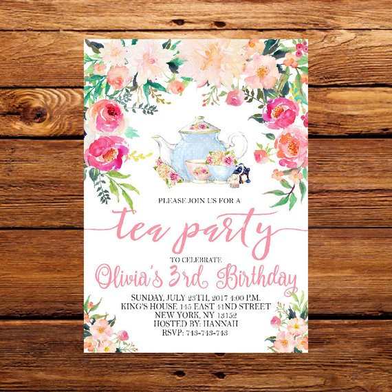 Floral Tea Party Invitation Tea Party Invitetea Party