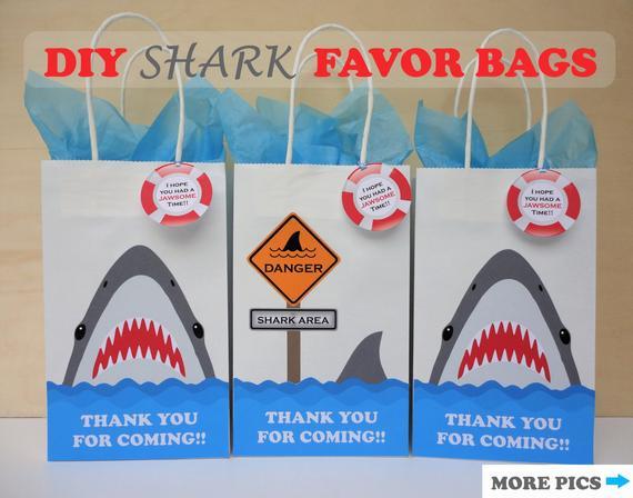 Shark Favor Bags  Shark Party Theme  Shark Birthday  Shark