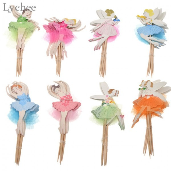 Lychee 24pcs Ballerina Fairy Cupcake Topper Picks Lace Dancing