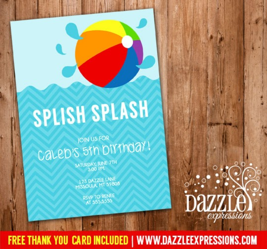 Printable Modern Pool Party Photo Birthday Invitation