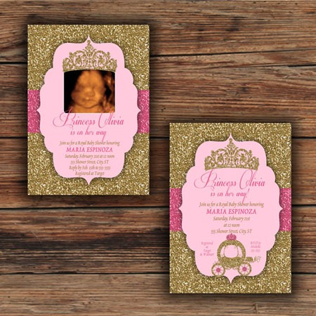 Pink & Gold Glitter Princess Baby Shower Invitations