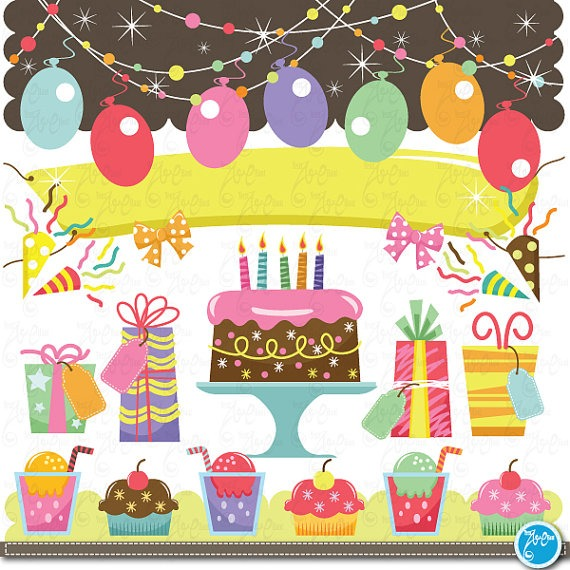 Birthday Clip Art , Baby Birthday, Party Graphic Kids Party