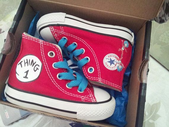 Thing One And Thing Two Inspired Converse Shoes On Etsy, $50 00
