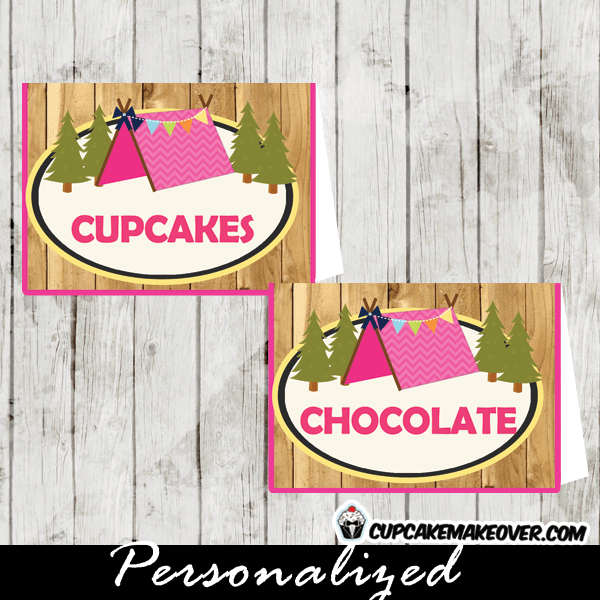 Camping Party Food Labels, Barn Wood Editable Tent Cards