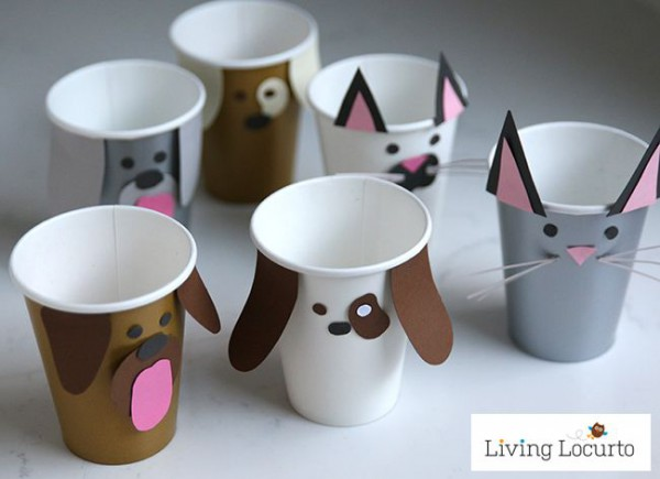 Pet Party Ideas For Kids! Dog And Cat Paper Cup Craft With Puppy