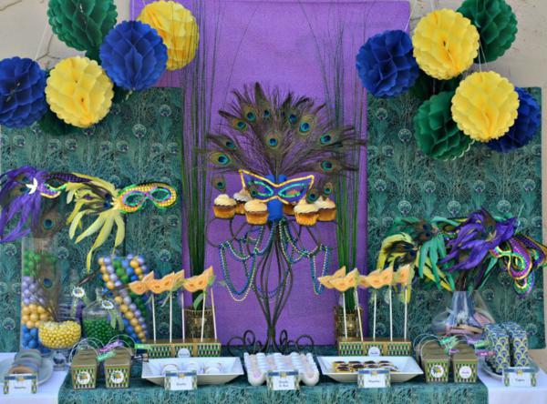 Kara's Party Ideas Brazilian Carnival Peacock Girl Boy Masquerade