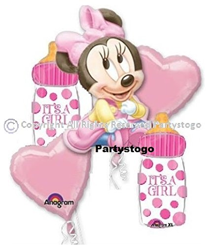 Amazon Com  Minnie Mouse Baby Shower Balloons Bouquet Decorations