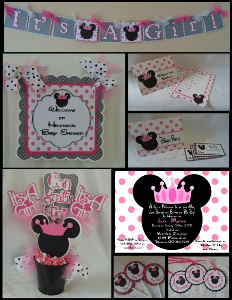 Minnie Mouse Baby Shower Party Package, Shower Decorations, Baby