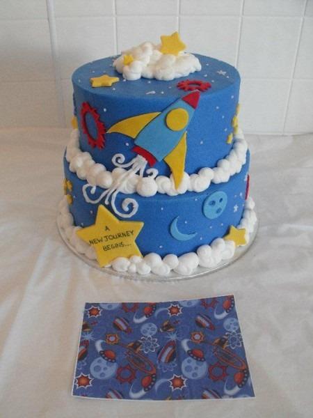 Rocket Themed Baby Shower Cake